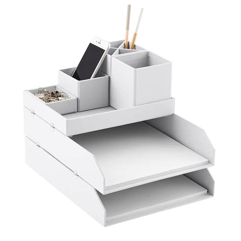 container store desk organizer bigso light grey stockholm desktop organizer the