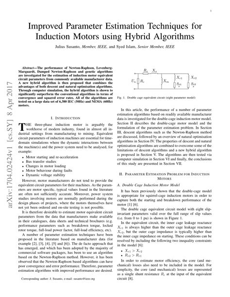 induction motor and parameter estimation improved parameter estimation techniques for induction motors using hybrid algorithms pdf
