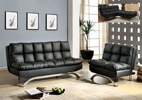 Black Leather Futon Sofa Bed Chair Set Comfy Pillow Top Sofa Bed Set