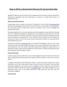 how to write a government resume for government jobs government resume writing best resume exle