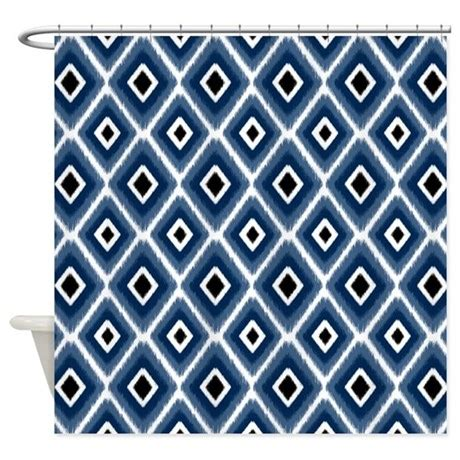 Navy Blue Ikat Curtains Designs Navy Blue Ikat Pattern Shower Curtain By Doodles Design