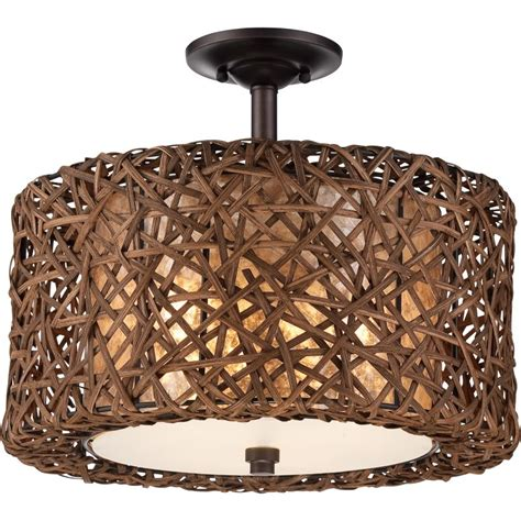 Rattan Ceiling Light Quoizel Mcrm1716pn Palladian Bronze Ruckman 3 Light 16 Quot Wide Semi Flush Ceiling Fixture With