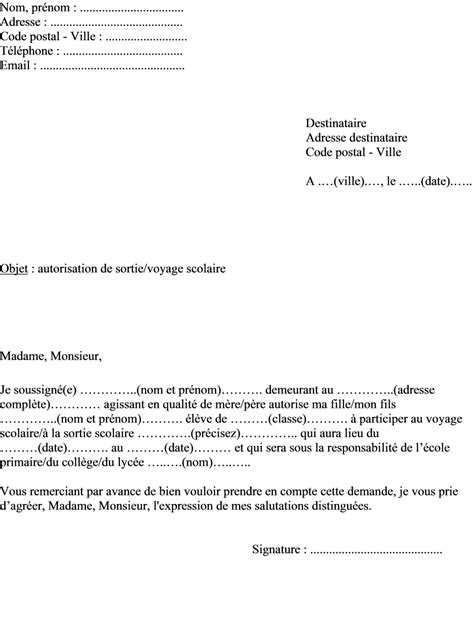 Exemple De Lettre Vacances Modele Autorisation Parentale Ecole Document