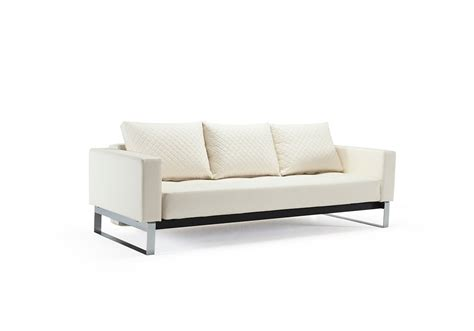 cassius quilt sofa bed size white leather textile by innovation