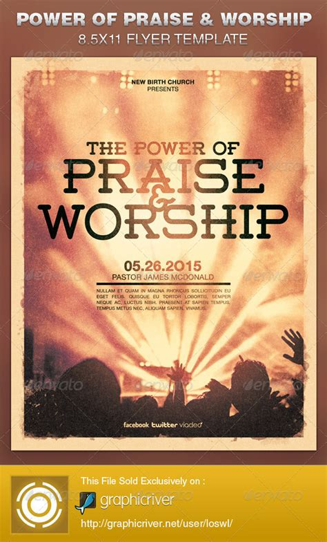 church revival flyer template free power of praise and worship church flyer template on behance