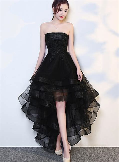 black high  tulle  applique fashion homecoming