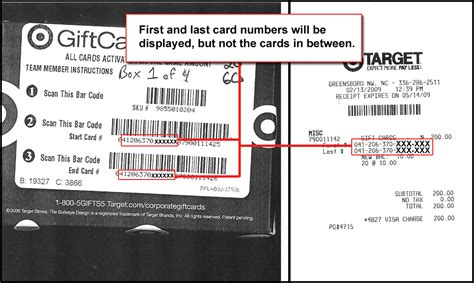 Target Gift Cards - how to identify gift card numbers purchasing