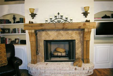 Unfinished Wood Fireplace Mantels by Rustic Solid Wood Fireplace Mantel With Tile
