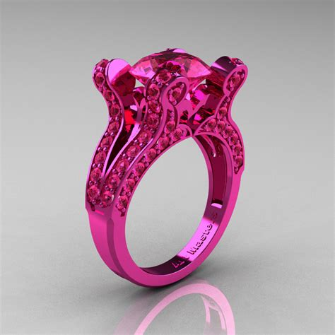 pink ring vintage 14k pink gold 3 0 ct pink sapphire pisces