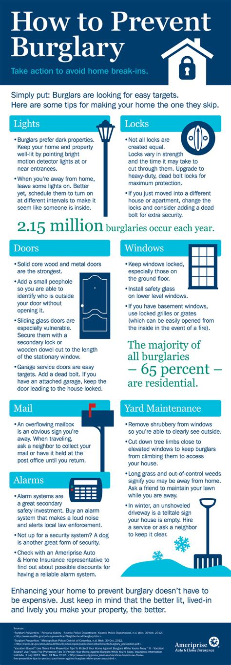 how to prevent home burglary infographics nothin but