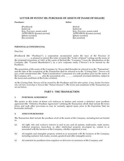 Letter Of Intent Asset Purchase Canada Letter Of Intent To Purchase Business Assets Forms And Business Templates
