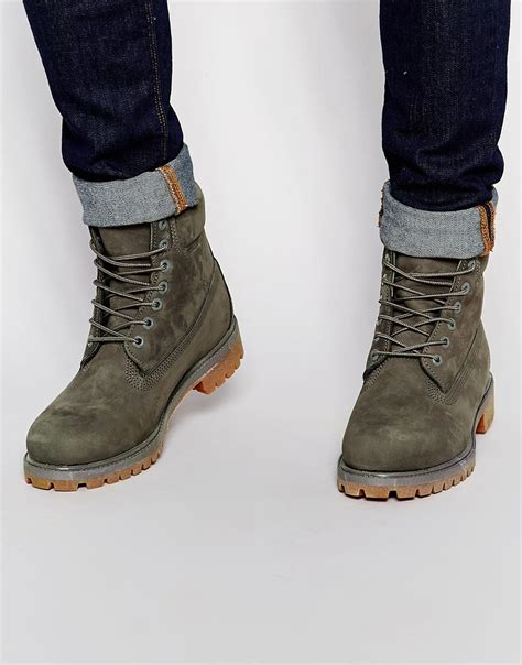 gray boots lyst timberland classic premium boots in gray for