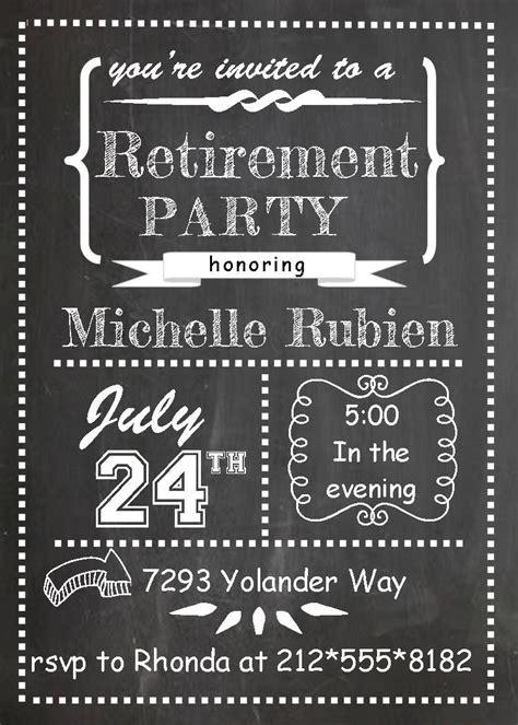 chalk board teacher retirement invitations farewell