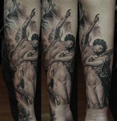 religious black full sleeve tattoo design by dmitriy