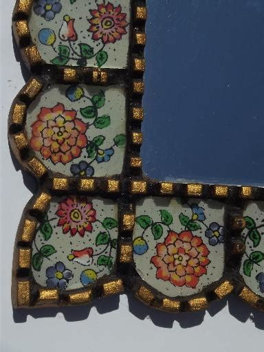 mexican folk art mirror picture frame carved wood painted glass tiles
