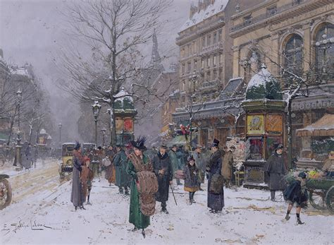 Duvet In French Parisian Street Scene Painting By Eugene Galien Laloue