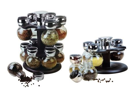 Spice Jar Stand 6 And 12 Pcs Glass Spice Jar Set Revolving Rack Modern