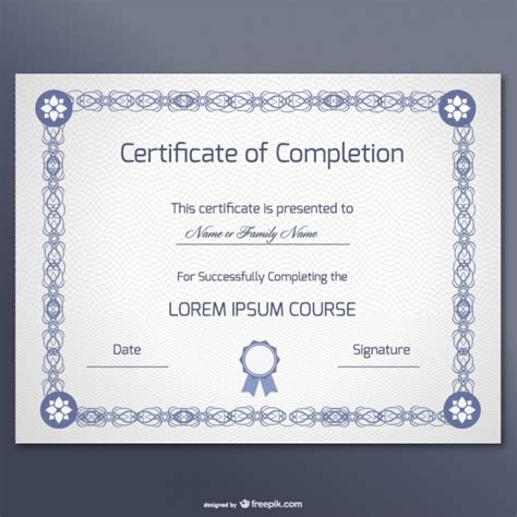 free vector certificate templates certificate of completion template vector free