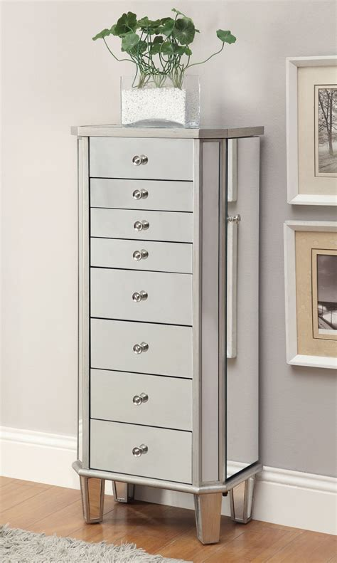 jewelry armoire silver 903808 antique silver jewelry armoire from coaster 903808