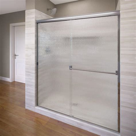 Slide Shower Door Sterling Deluxe 48 7 8 In X 70 In Framed Sliding Shower Door In Silver With Glass Texture