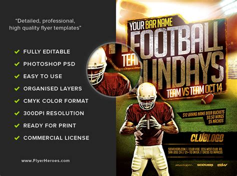 football flyers templates football sundays flyer template 2 flyerheroes