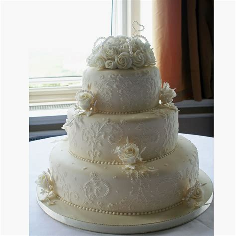 3 Tier Cake Decorating Ideas by Pearl Wedding Cake Decorated With Detailed Lace Embroidery