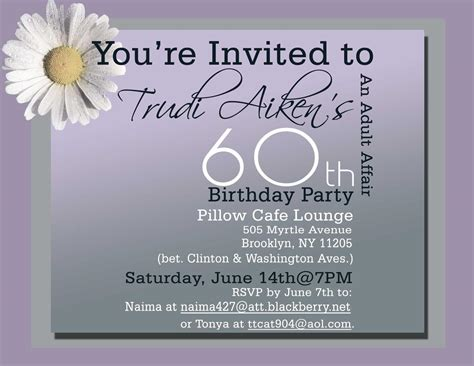 60th birthday invitation card templates free 60th birthday invitations invitations templates