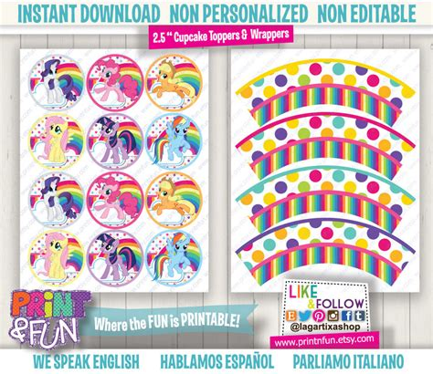 my little pony printable party decorations my little pony party cupcake toppers wrappers