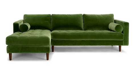 Green Sectional Sofa Sven Grass Green Left Sectional Sofa Sectionals Article Modern Mid Century And