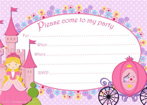 free princess invitation templates free printable invitations free printable