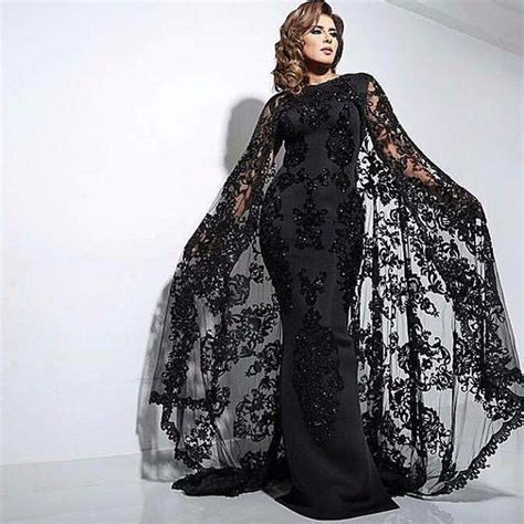 Longdress Kaftan Lace aliexpress buy dubai evening dresses with cape satin abaya kaftan formal gowns black