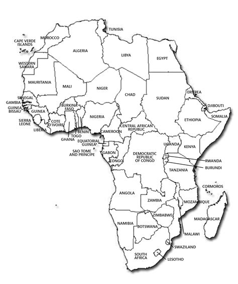Africa Political Map Blank by Africa Political Map In Black And White