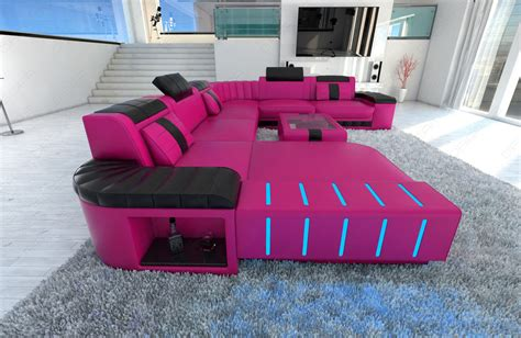 Pink Sectional by Sectional Sofa Bellagio Led U Shaped Pink Black Ebay