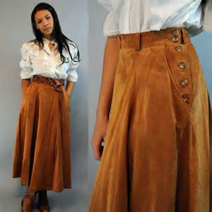 vintage 80s brown leather skirt high waisted skirt laura
