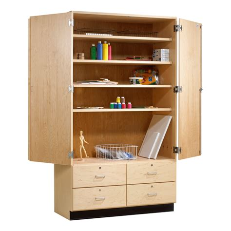 shain wood storage cabinet w drawers at school