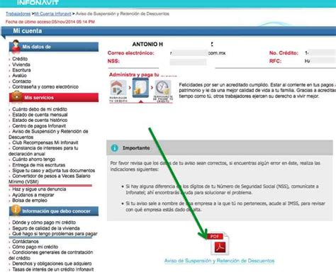 infonavit hoja de retencion de salario obtener el aviso de suspensi 243 n y retenci 243 n de infonavit