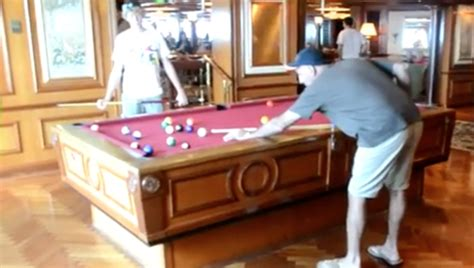 self leveling pool table on a cruise ship rewind clip