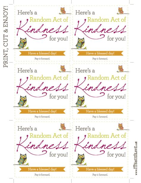 Random Acts Of Kindness Template acts of kindness printables birthday printable cards 32