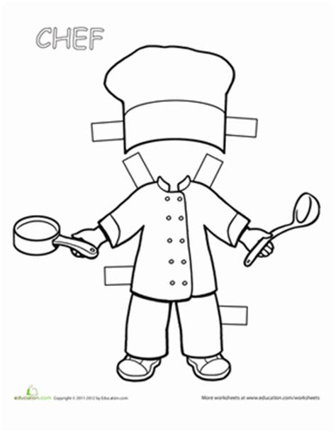 chef template chef paper doll worksheet education