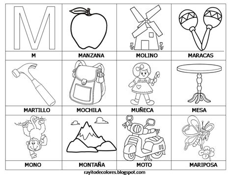 imagenes palabras que empiezan con m rayito de colores alfabeto en palabras de la a a la z
