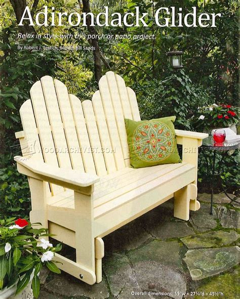 adirondack glider bench adirondack glider chair woodworking plan chairs seating