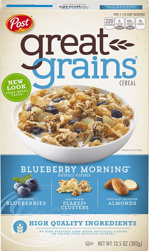 whole grain unsweetened cereal great grains cranberry almond crunch post consumer brands