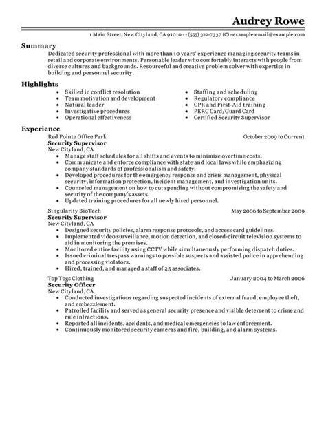 security guard supervisor resume sle best security supervisor resume exle livecareer