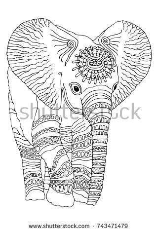 Anti Stress Batik Coloring Book For Adults 1 baby elephant sketch antistress stock vector 743471479