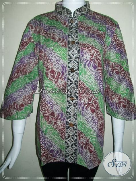 Gieska Baju Rajut Murah Murmer Bagus jual baju batik kerja cewek blus batik wanita dewasa busana batik cap gradasi warna hijau