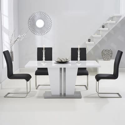 Vegas Dining Table And 2 Chairs Vegas High Gloss White Dining Table With 6 Milan Black Chairs Robson Furniture