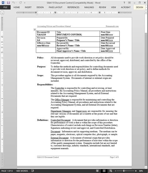 accounting manual template iso document document procedure template