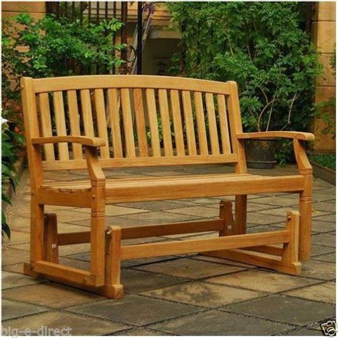 outdoor gliding bench 100 wood teak glider bench patio outdoor garden wooden ebay