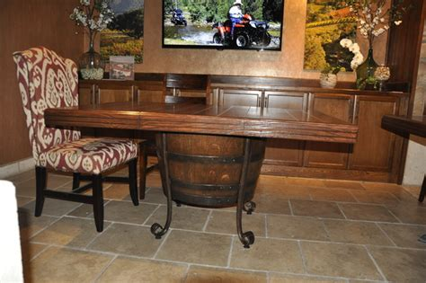 wine barrel dining room table mediterranean dining