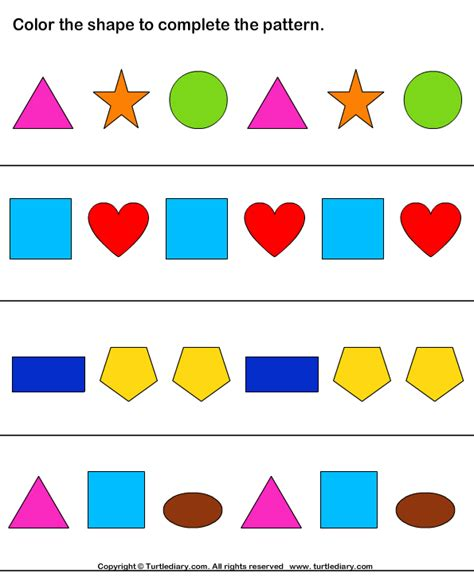 abc pattern using shapes complete the shape pattern worksheet 7 turtle diary